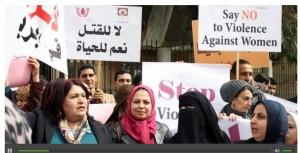 הפגנה נגד אלימות כלפי נשים ברמאללה. צילומסך מרדיו פרי ספיץ'.