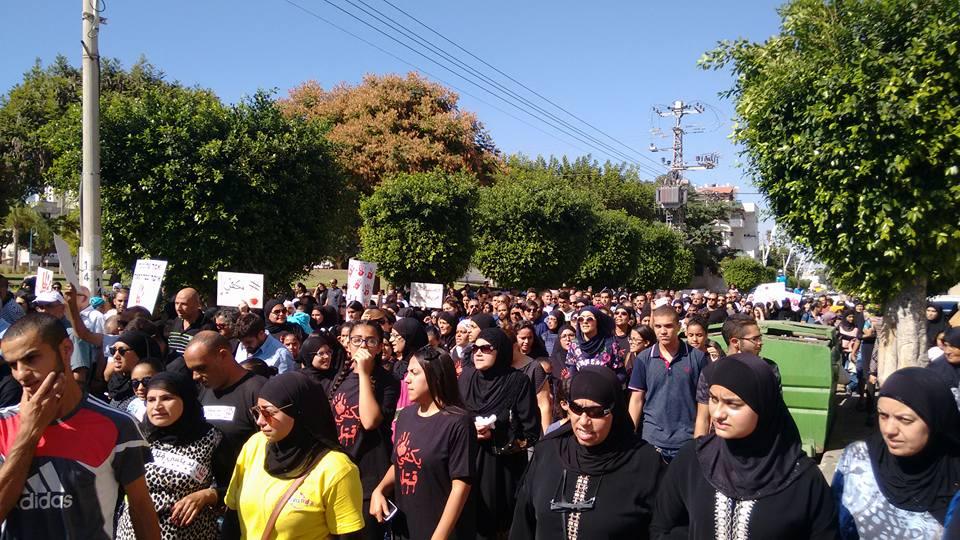 הפגנה בהובלת פמיניסטיות פלסטיניות במחאה על רצח נשים ואלימות כלפי נשים. לוד, 2016. צילום: ליטל כהן-ביטון