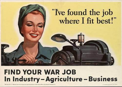 כרזת תעמולה אמריקאית ממלחמת העולם השניה. המערכת הצבאית דורשת מנשים לשרת, אבל הן רק מפסידות ממנה