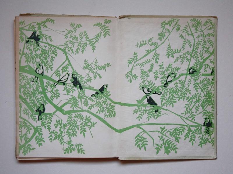 """איור של ציפורים על עץ, מתוך הספר """"עיניים שמחות"""" פורזץ"""