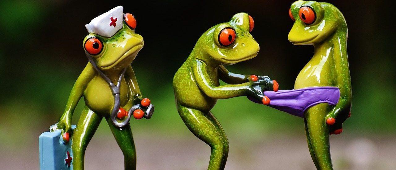 ביקור אצל רופא הנשים מיוצג בידי צעצועי צפרדעים בבדיקה רפואית