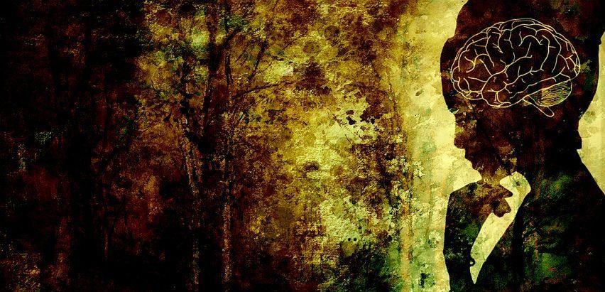 פסיכיאטריה של נשים מיוצגת בידי ציור שכולל מוח אישה ומסתורין