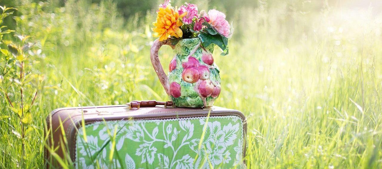 מזוודה ופרחים מסמנים אישה בורחת כמו בשיר של אורית גולדמן