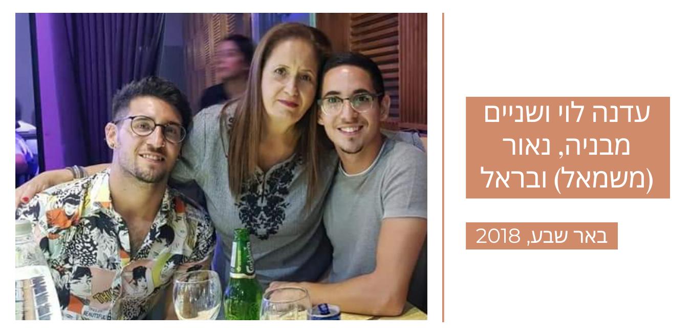 עדנה לוי ושניים מבניה, נאור (משמאל) ובראל | באר שבע 2018